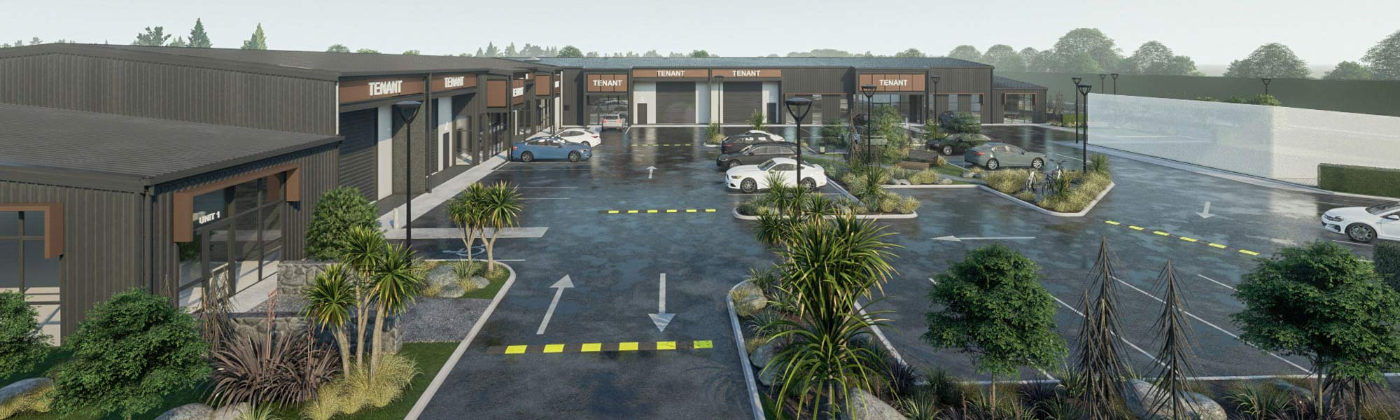 3D render of new Construction project of shops and parking.