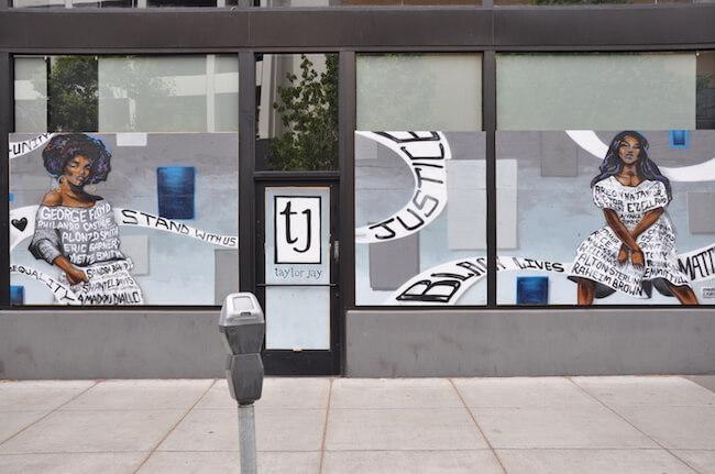 Black Lives Matter street art on side of building
