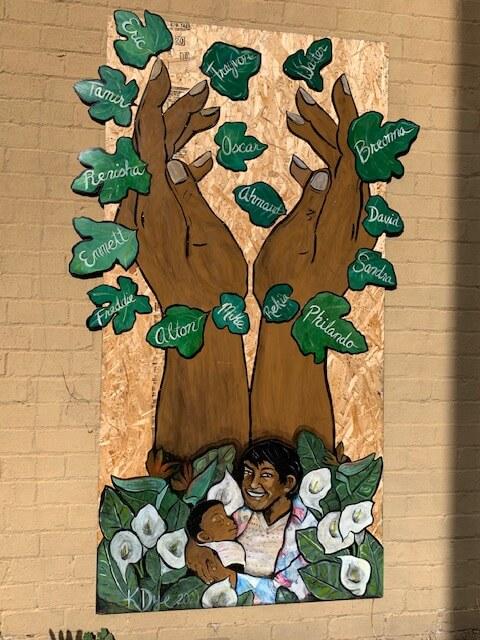 Black Lives Matter mural on side of building