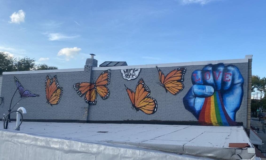 Love fist mural