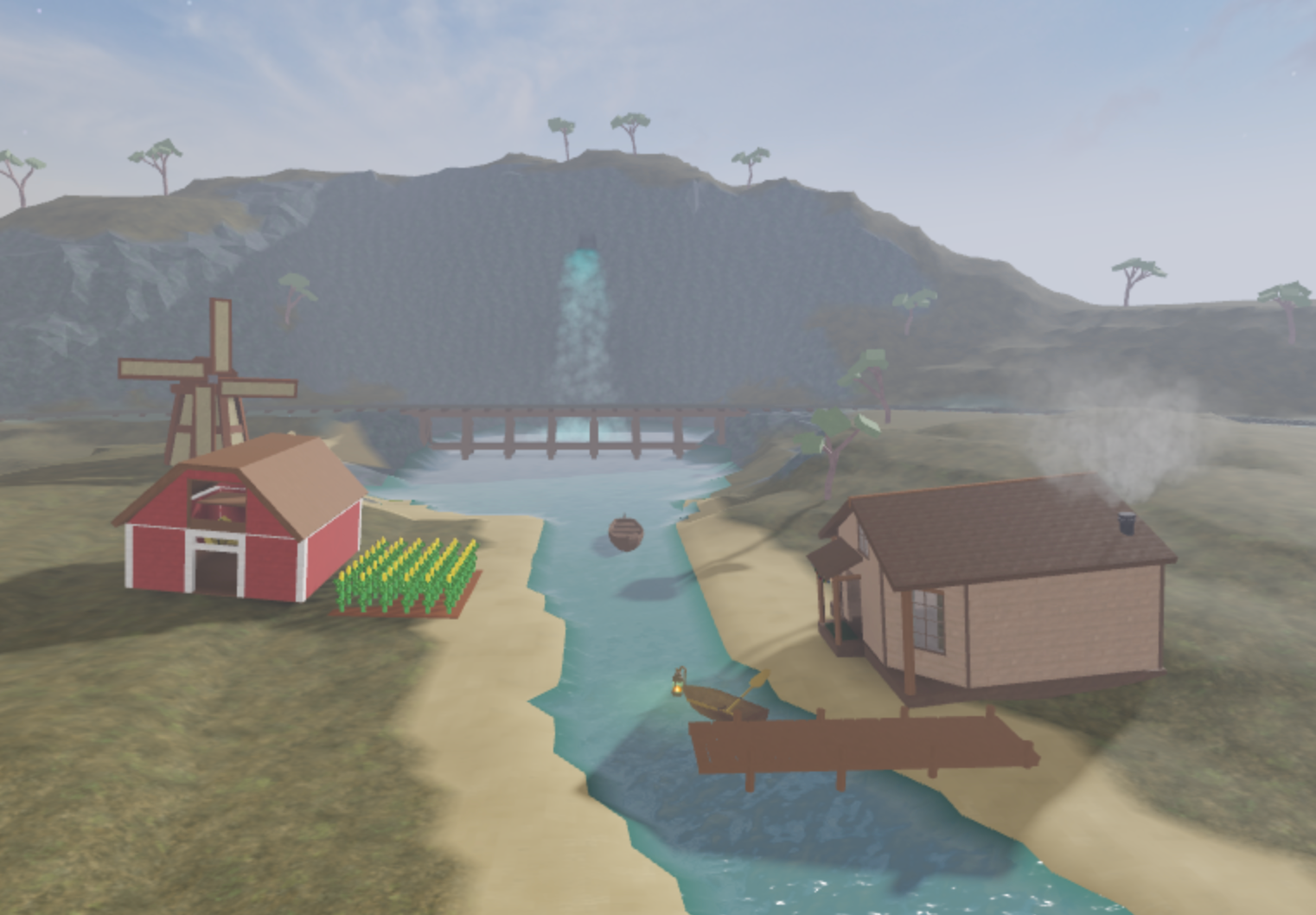 Join other Roblox world builders to design a thriving community on the edge of a rushing river!