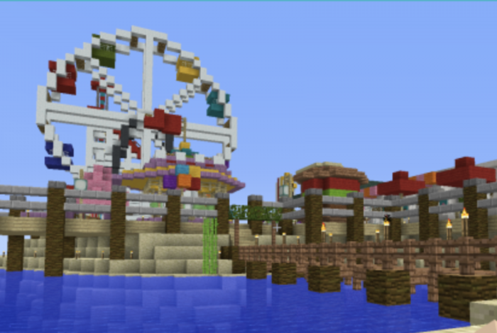 Team up with other Minecraft builders to create the perfect spot for a beach vacation!