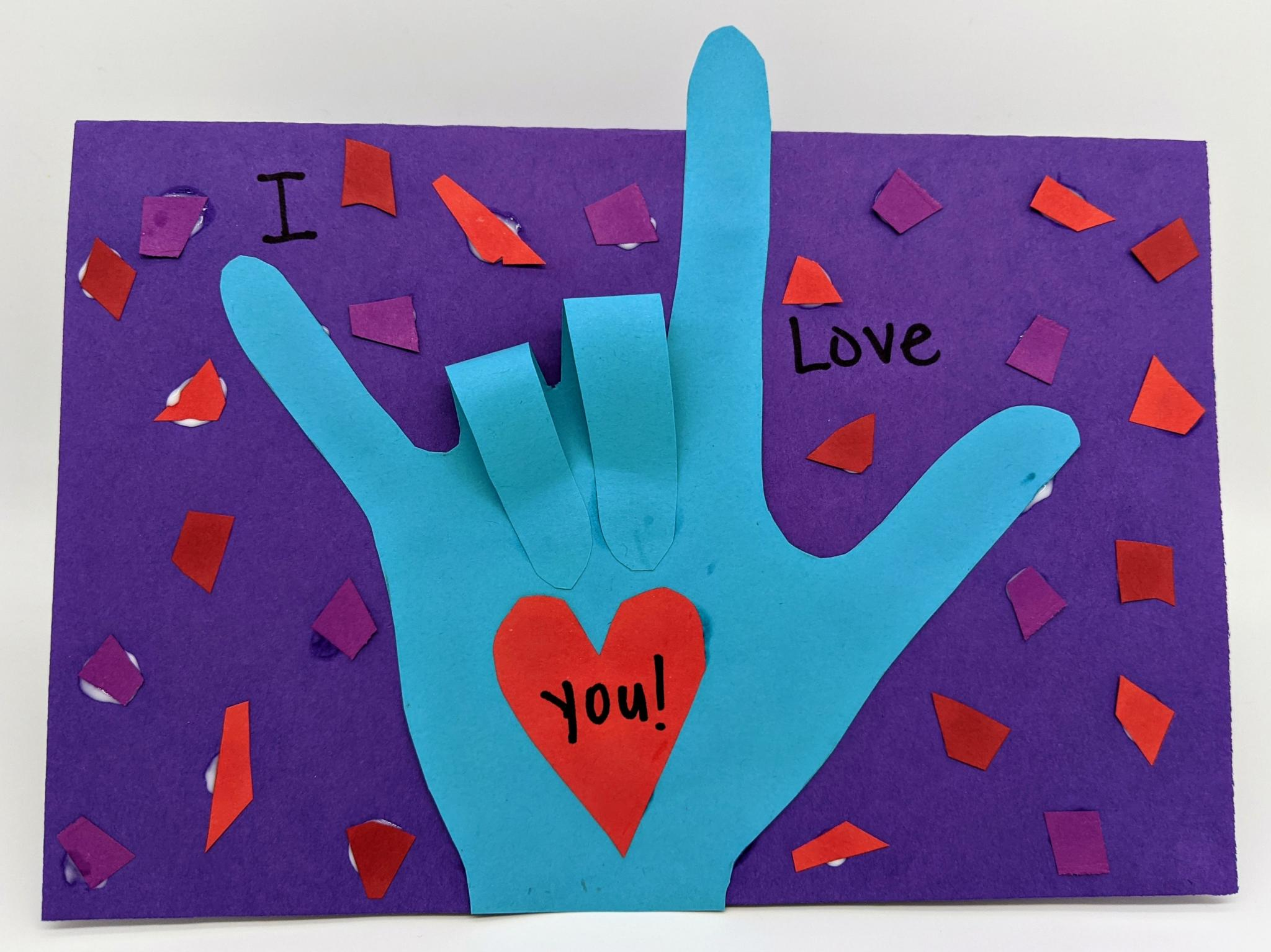 Make a Valentine's Day pop-up card that expresses your love in American Sign Language!