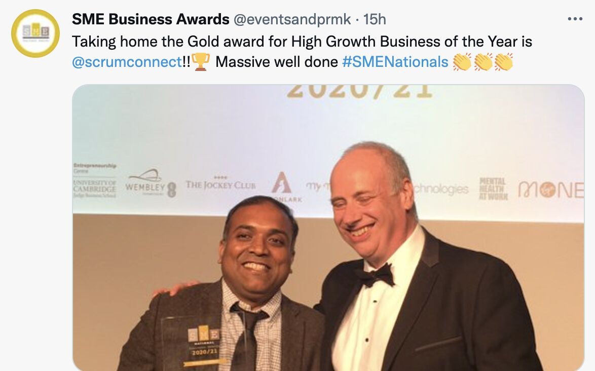 Scrumconnect Consulting Strikes two golds at National SME Awards