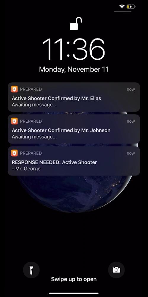 iPhone receiving prepared emergency notifications