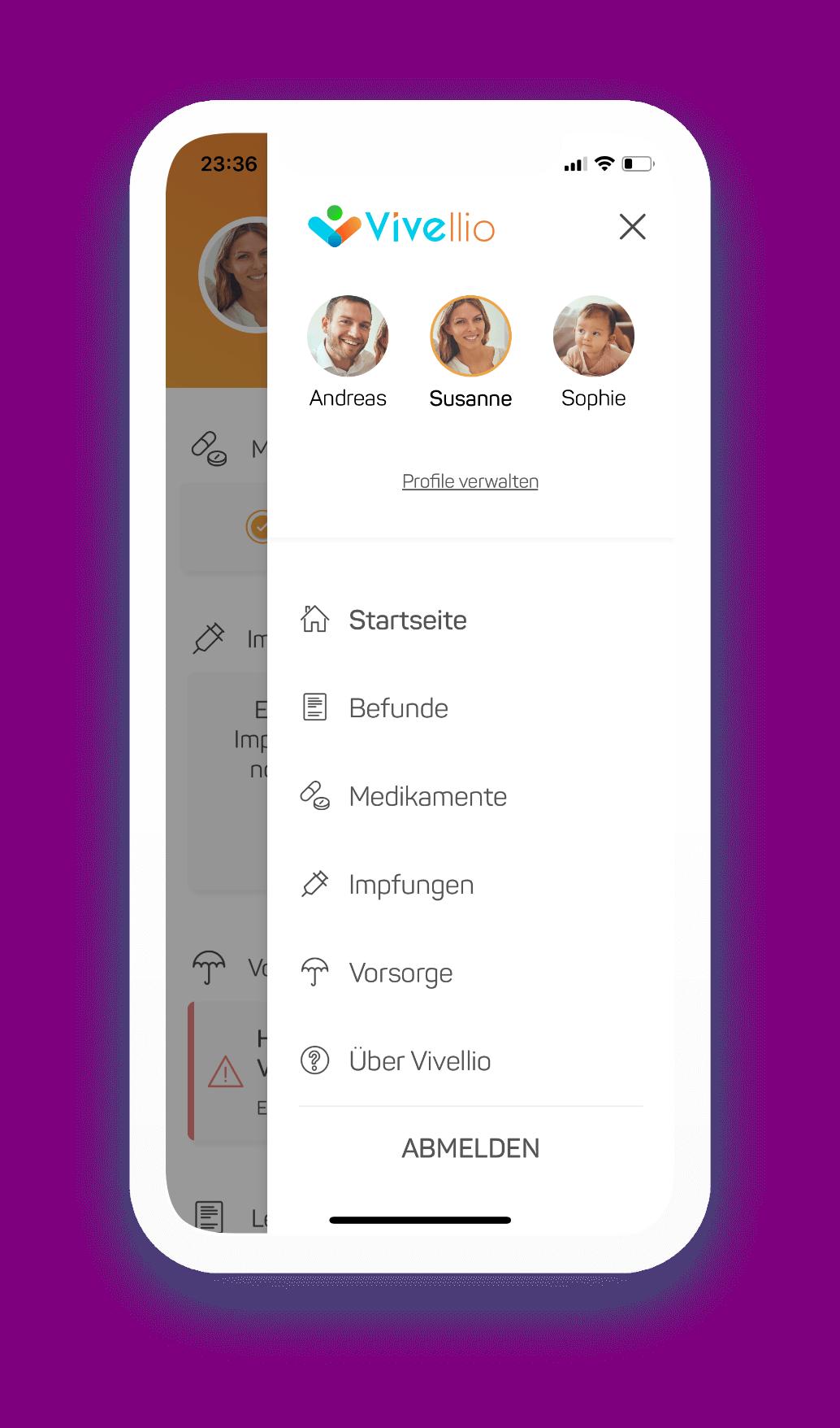 In der Vivellio App gibt es eine Übersicht über alle erstellten Profile
