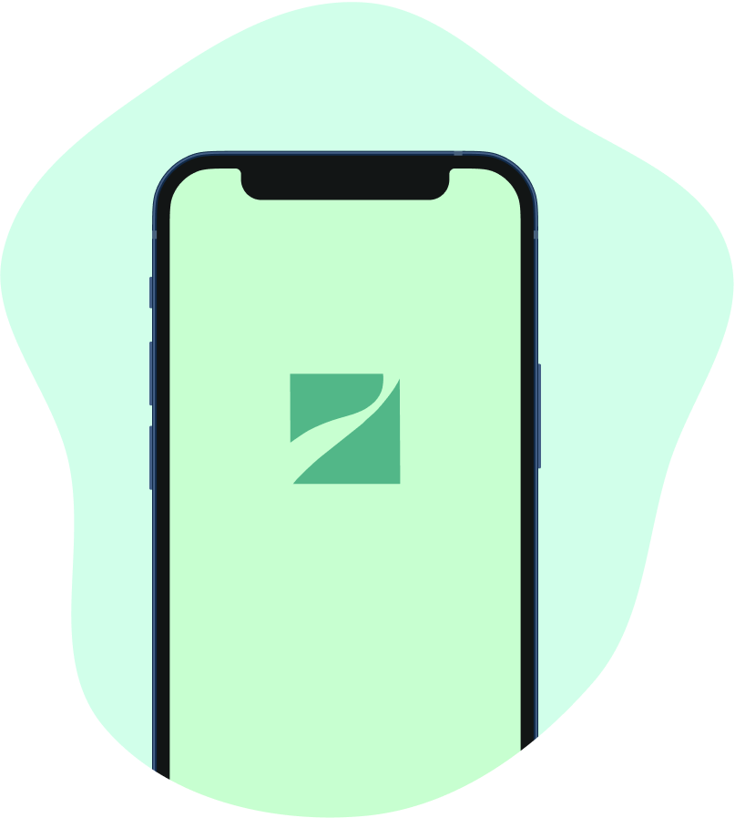 Smartphone with green background and Singu mark