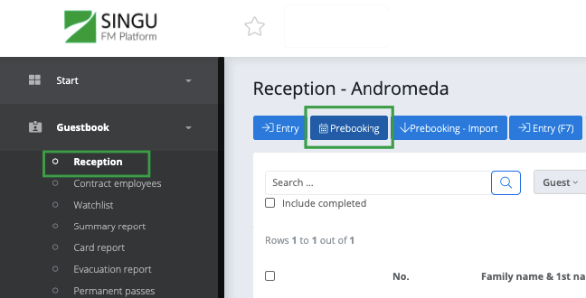 Reception screen with prebooking option