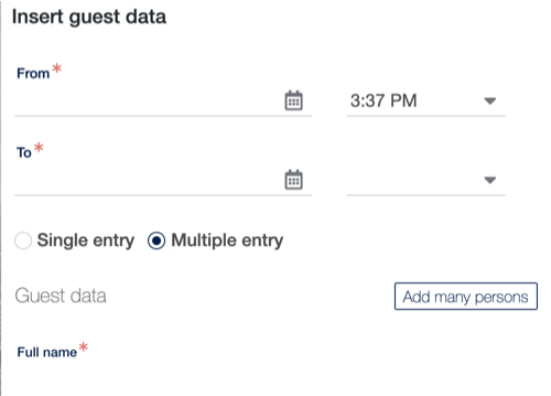 Adding multiple visitors form