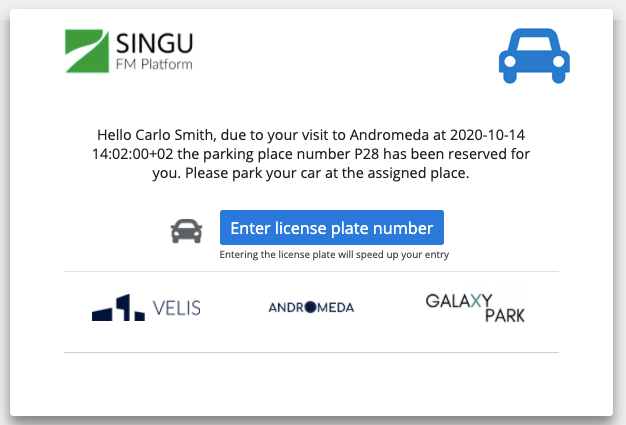 E-mail notification with option to add license plate number