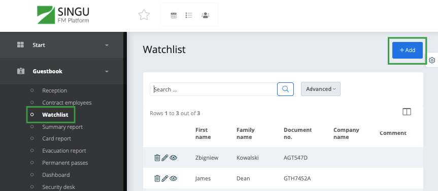 Adding a person to the watchlist