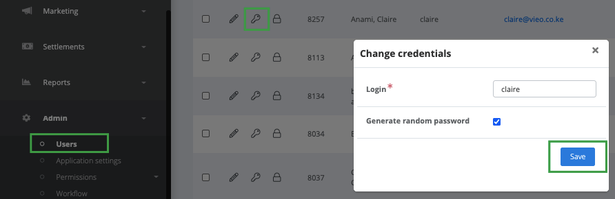 Changing password in the application