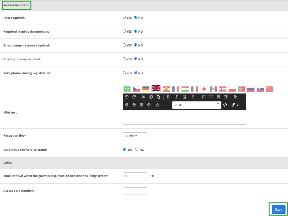 Self-service stand settings