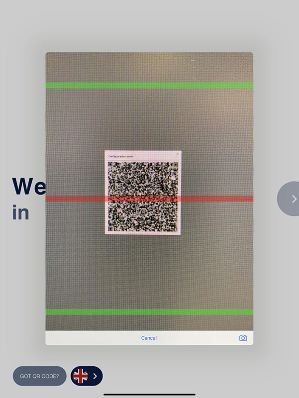 Scanning the QR code