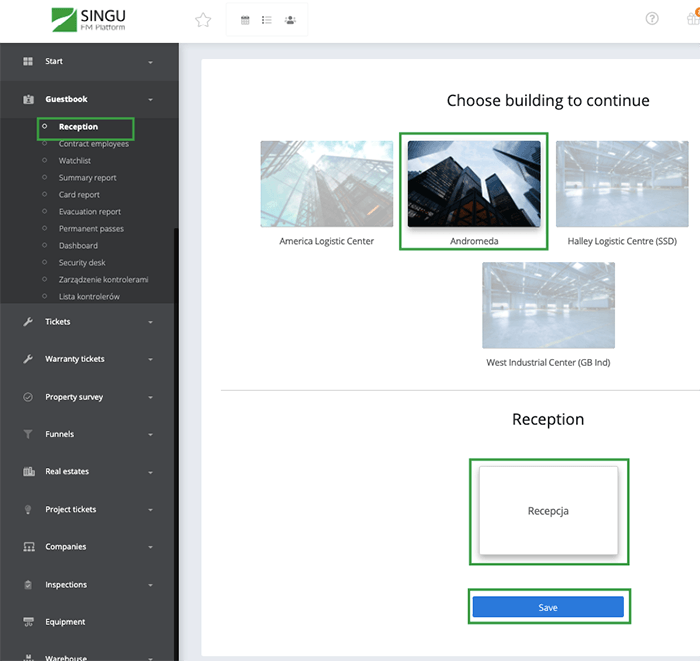 Choosing building in the application