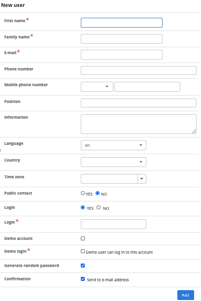 New user creation form
