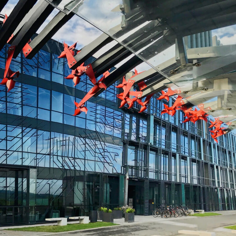 Glass facade of the office building
