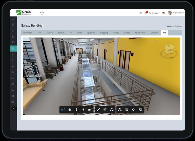 Singu FM Facility Management software on the tablet