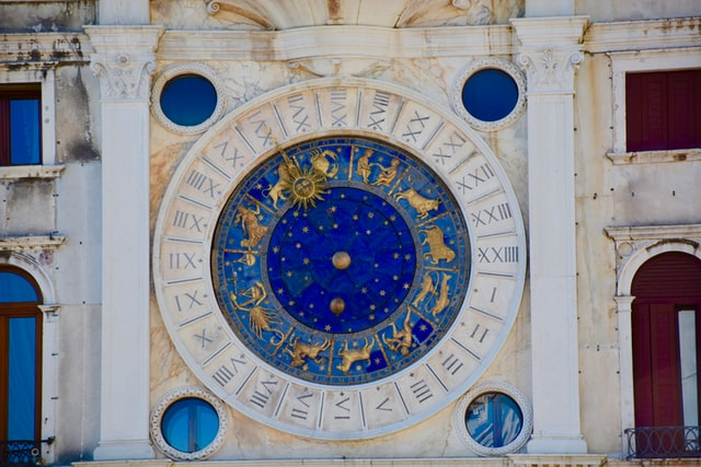 An image of the astrological cycle inlayed into stone