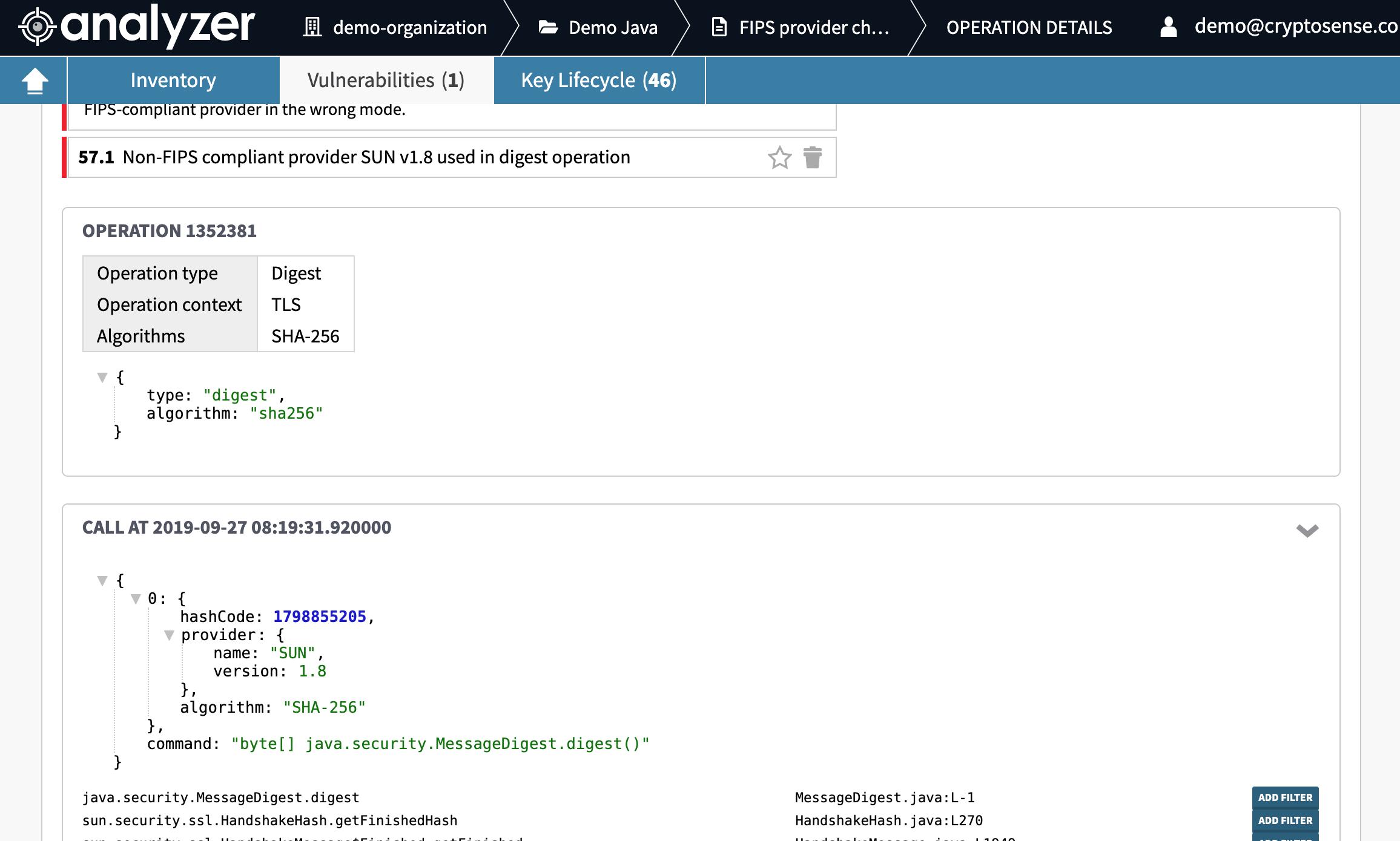 screenshot of the FIPS verifier rule in Cryptosense Analyzer