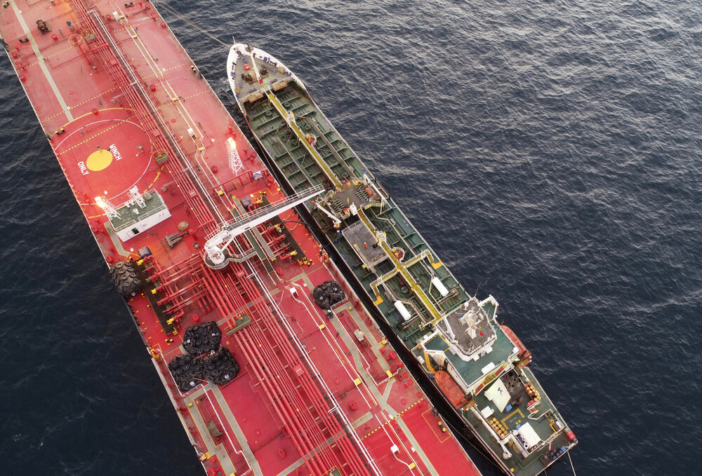 Oil tankers performing hip to ship Operation (STS) on open sea