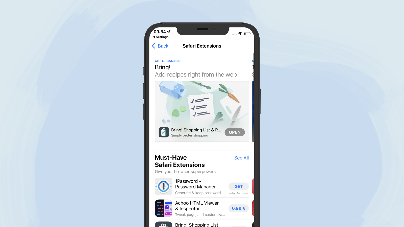 The Bring!Safari browser extension is now available in the App Store