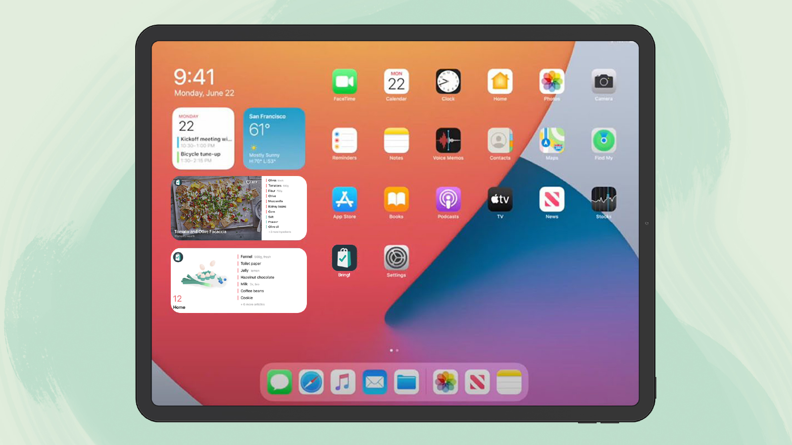The XL Widgets on the iPad home screen