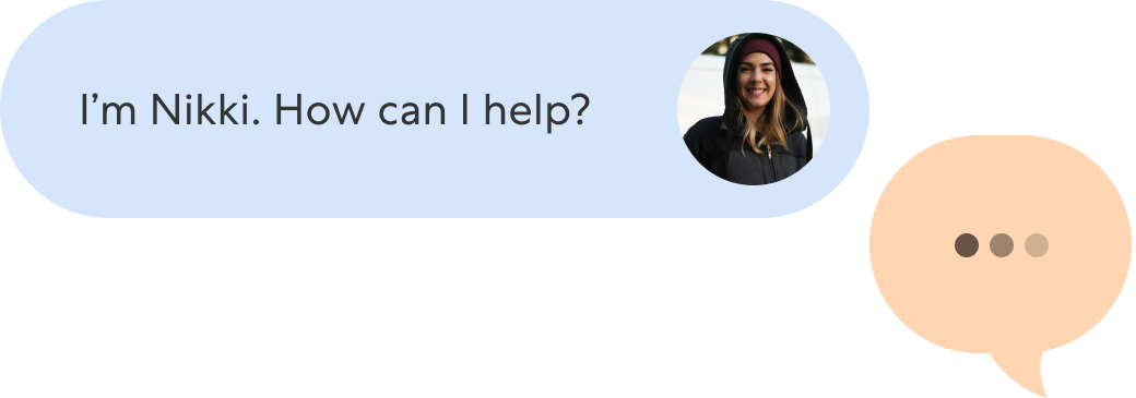 Chat example image, customer with question