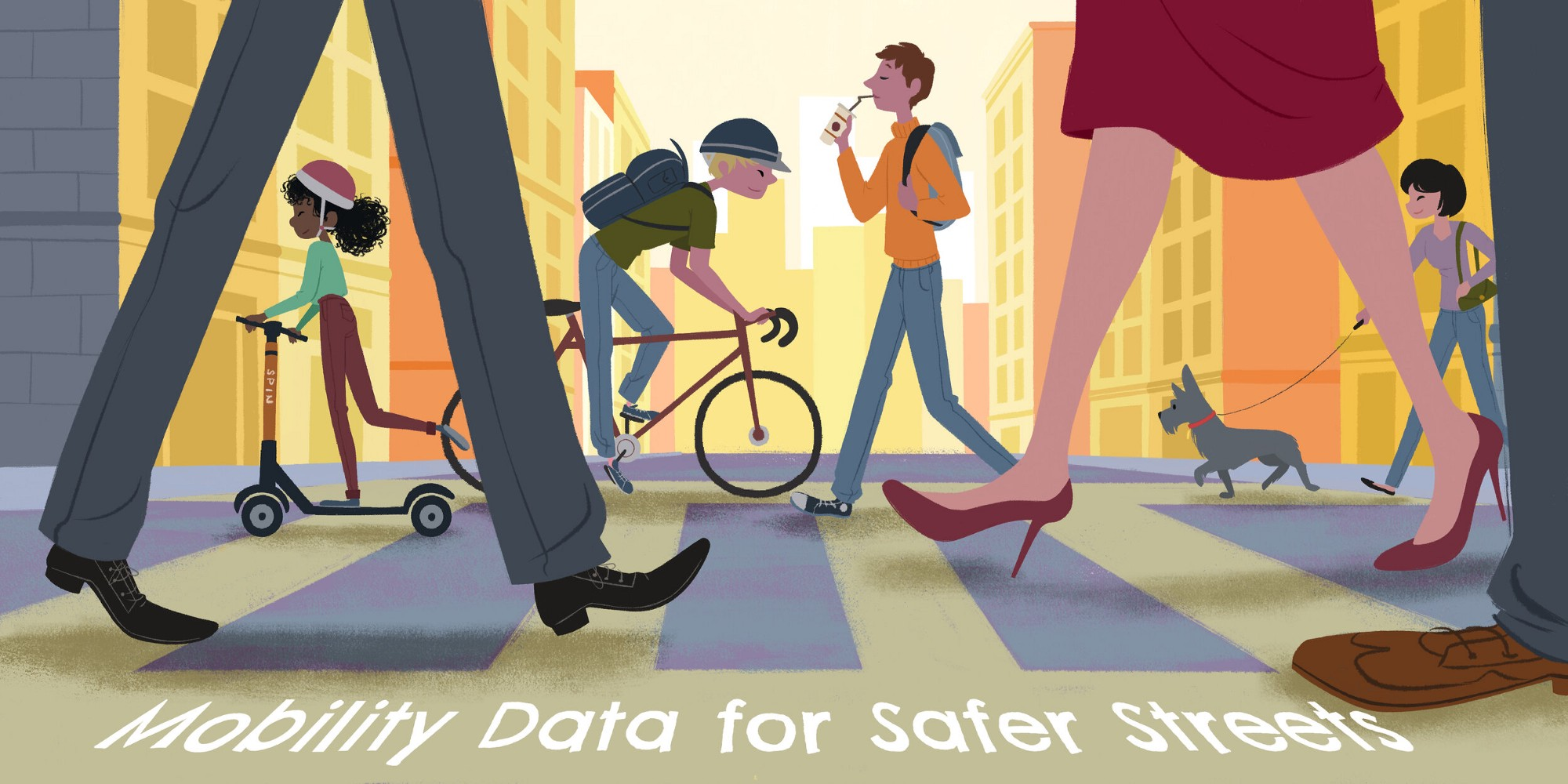 """Illustration of a crosswalk with pedestrians, bicyclists, and people on scooters with the text """"Mobility Data for Safer Streets"""" at the bottom."""