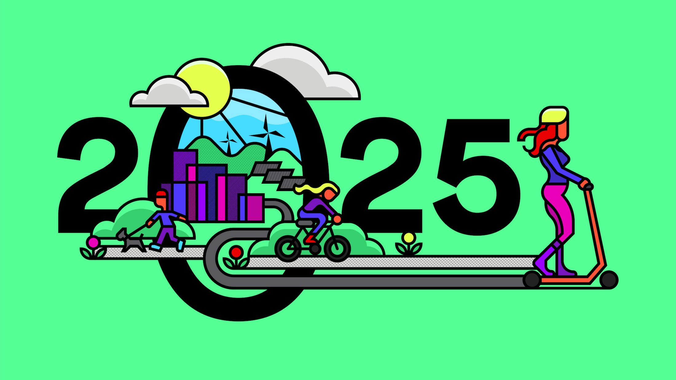 A drawing of the number 2025 with images of nature, a person walking a dog, a person biking, and a person on a scooter.