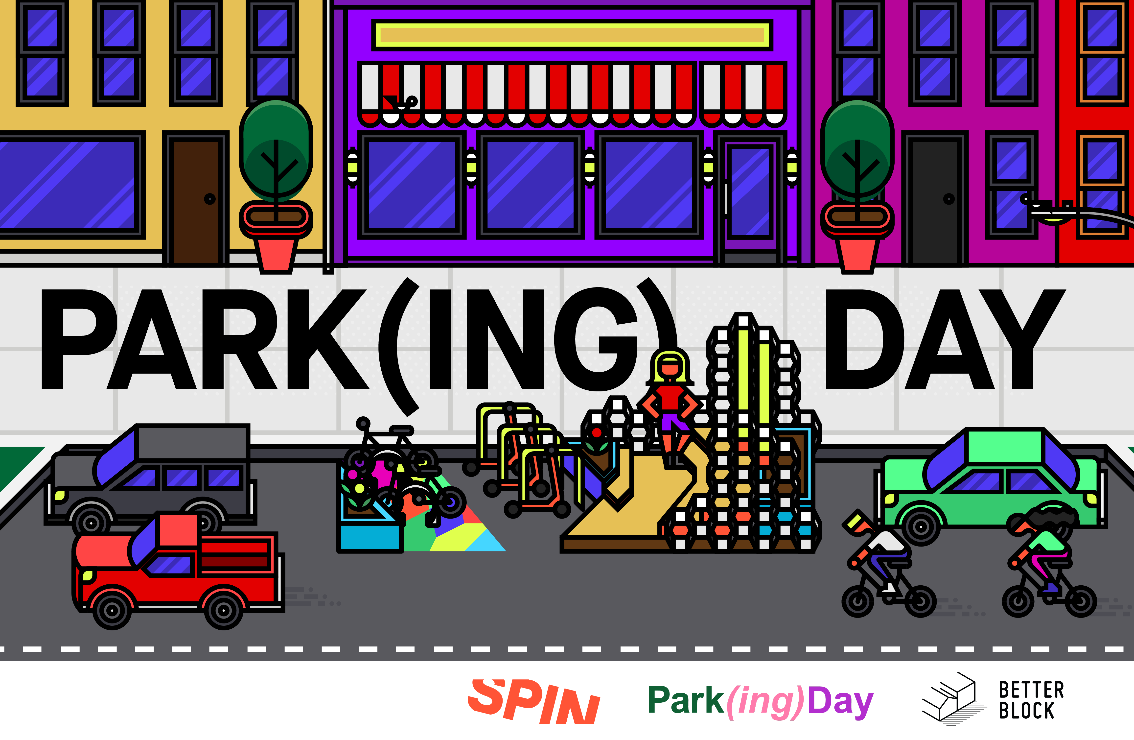 A cartoon rendering of a streetscape with a parklet in a parking space. The words Parking Day are written on the sidewalk.