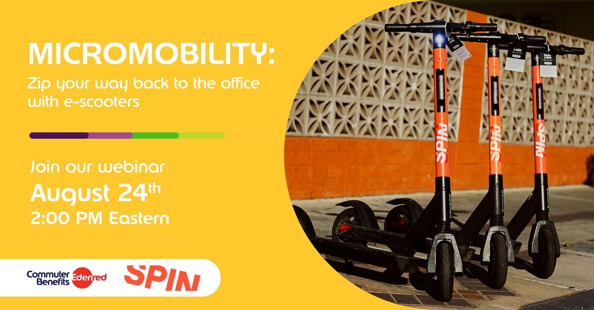 A banner advertising a webinar. Text reads: Micromobility. Zip your way back to the office. Join our webinar August 24th 2 p.m. eastern.