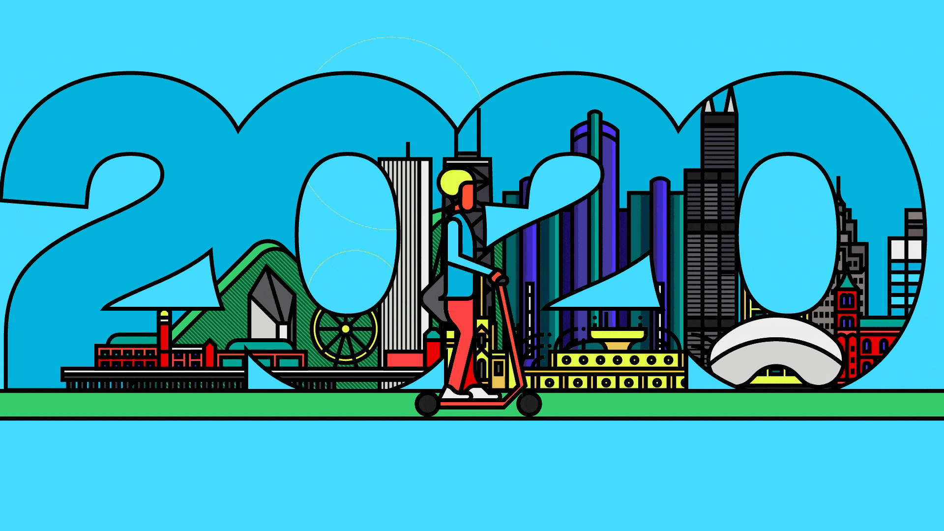 An illustration of a person riding a scooter in front of the number 2020. In the numbers are various icons from cities around the world.