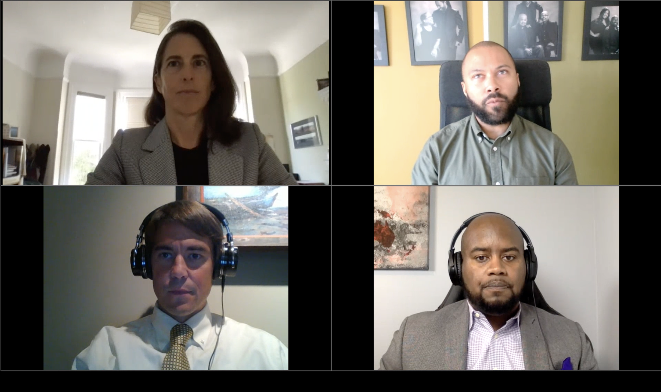 A screenshot of the panelists arranged in four squares.