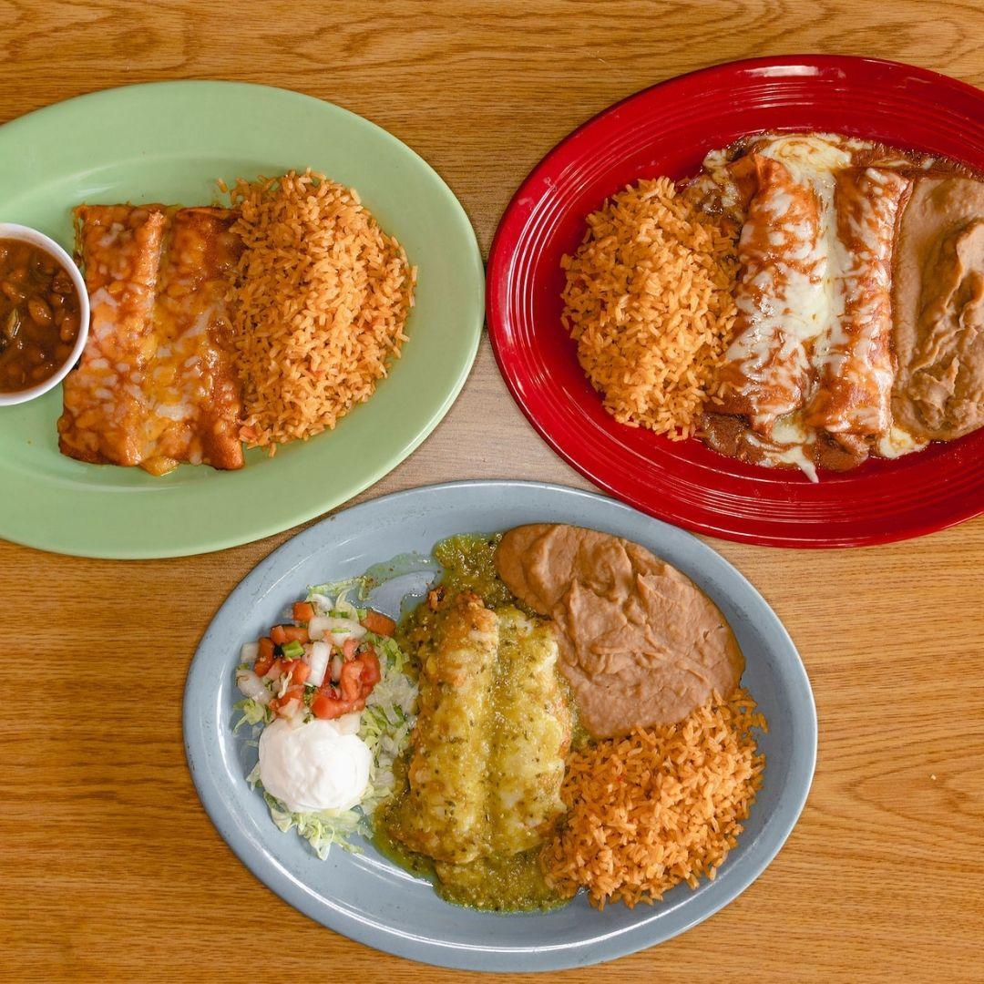 Masfajitas-College Station Tex-Mex and Mexican Restaurant Enchiladas Verdes, Cheese Enchiladas, and Beef Enchiladas