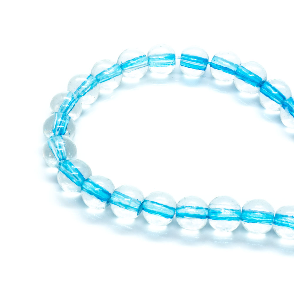 Clear Glass Beads Center Dyed - 6mm - 80cm strand