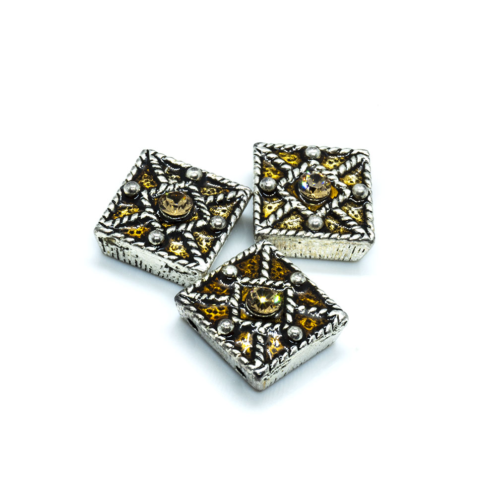 Spacer Bead with Swarovski Square 11mm x 11mm
