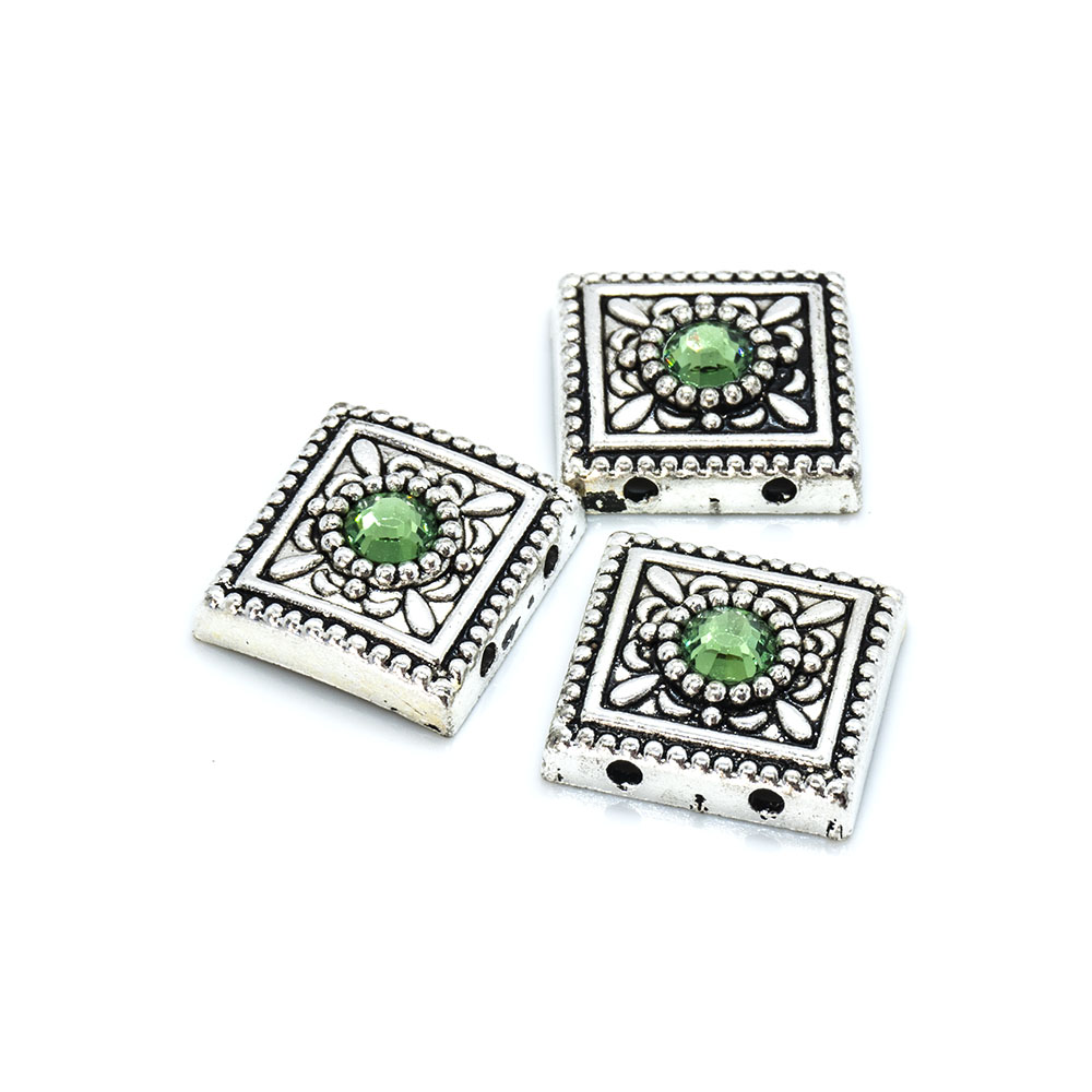 Spacer Bead with Swarovski Square 13mm x 13mm