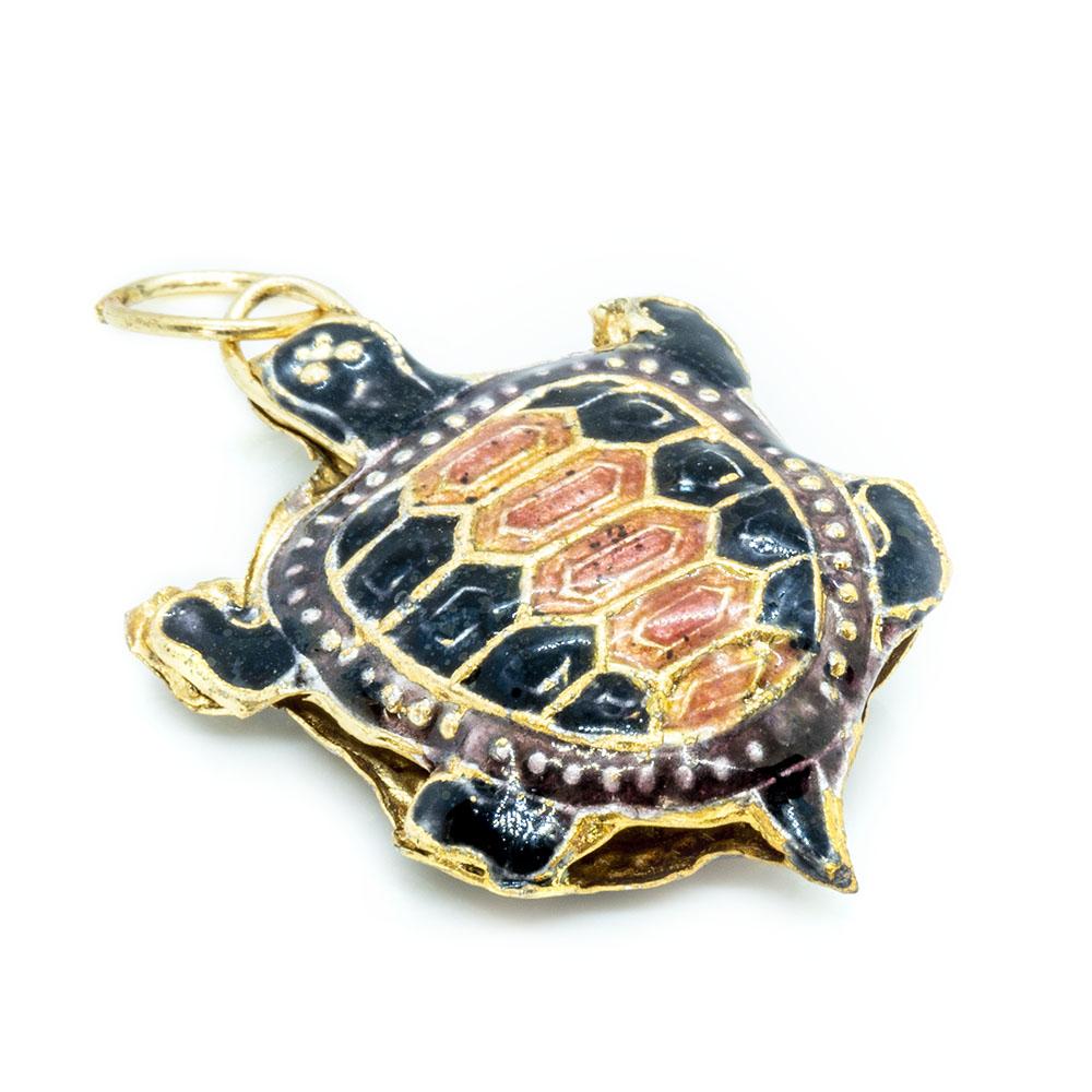 Pendant Cloisonne - Black Turtle - 35x24mm