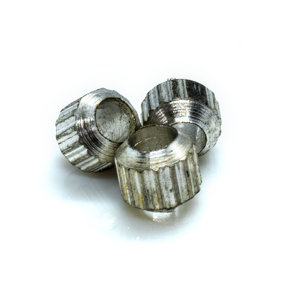 Knurled round beads - silver plated brass - 4x3mm - 20pc