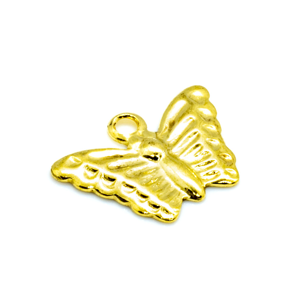 Charm - Stamped Butterfly - 10x12mm