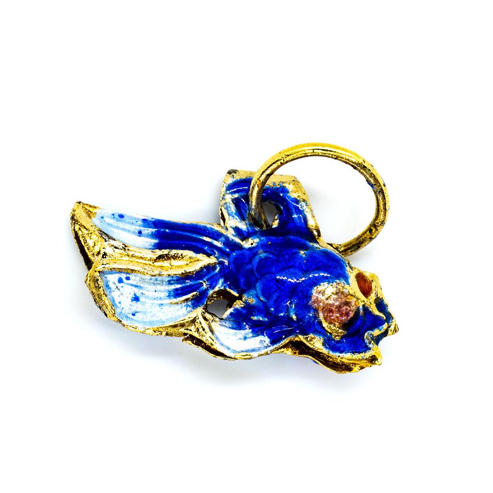 Pendant Cloisonne - Blue Fish - 20x13mm