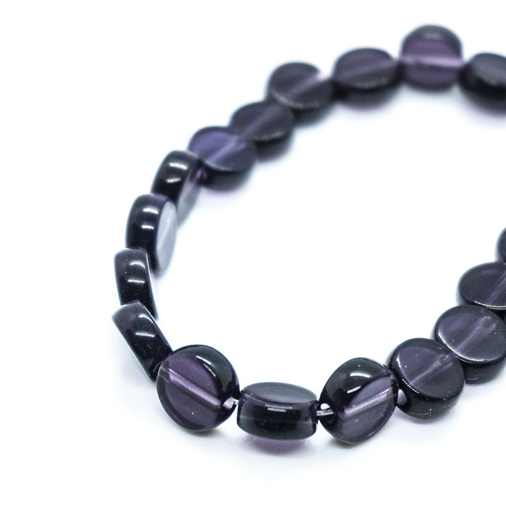 Flat Round Glass Beads Strands - 7mm - 34cm strand