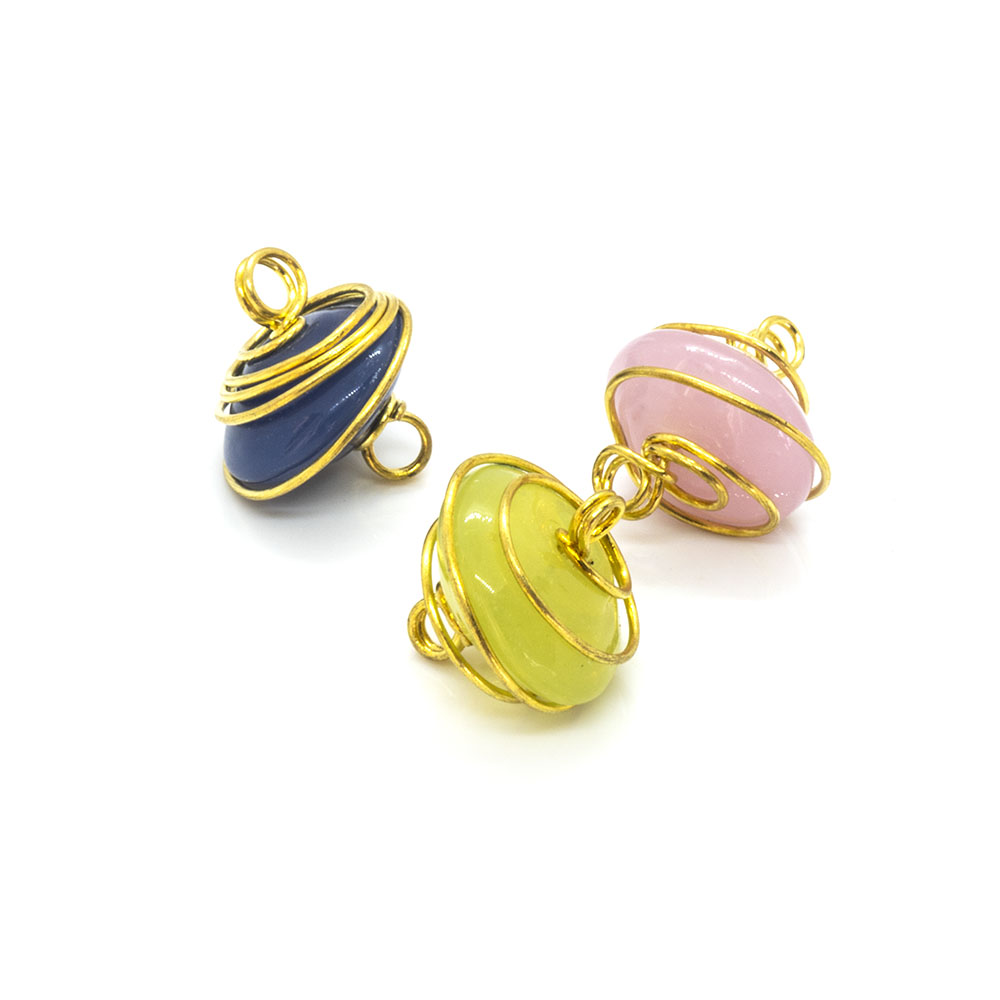 Wire-Wrapped Rondelle - 12x7mm - 5pc