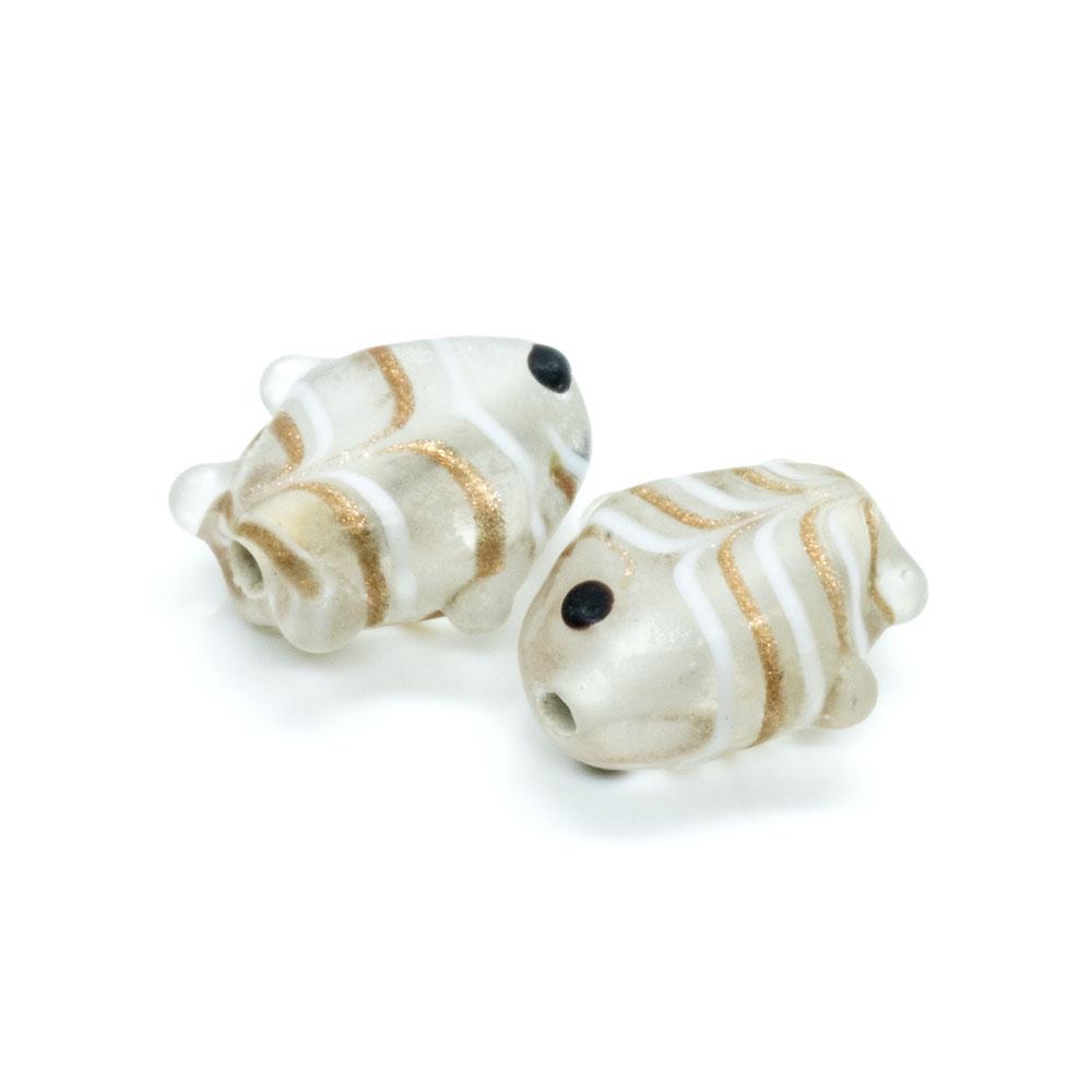 Glass Fish Bead - 17x16mm - 1pc