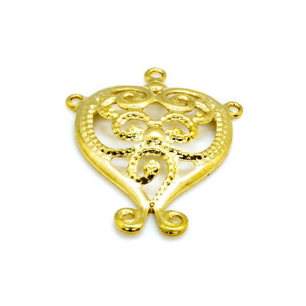Charm - Filigree Heart With Swirl - 15x13mm