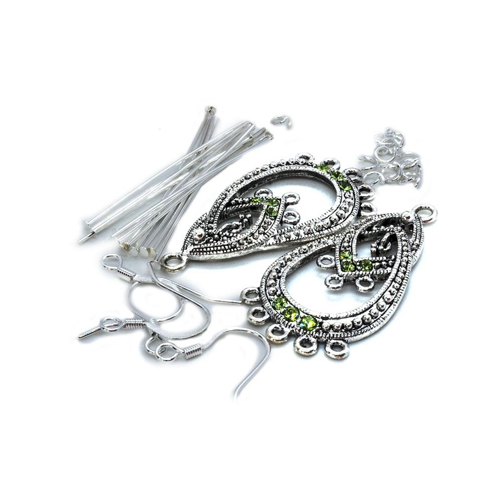 Crystal Innovations - Swarovski Earring Kit - Peridot Teardrop