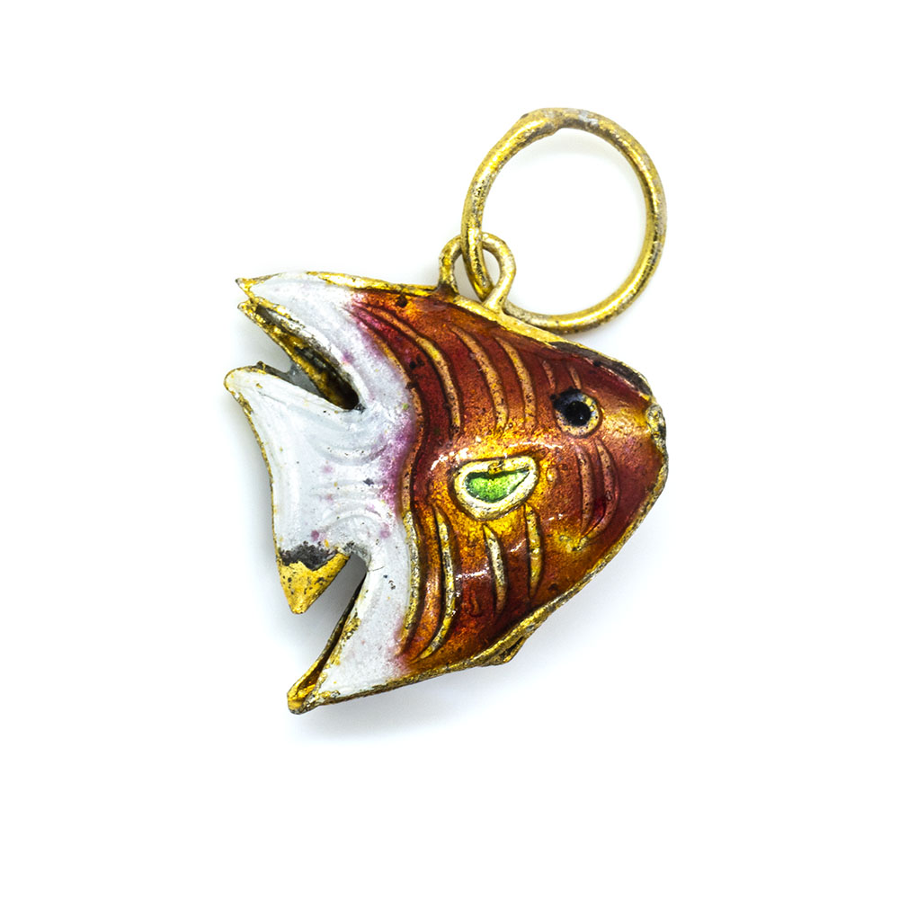 Pendant Cloisonne - Red Angle Fish - 15x14mm
