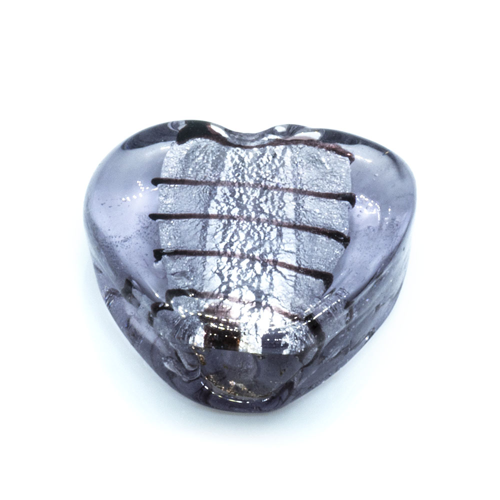 Glass Foil Lined Heart - 20mm