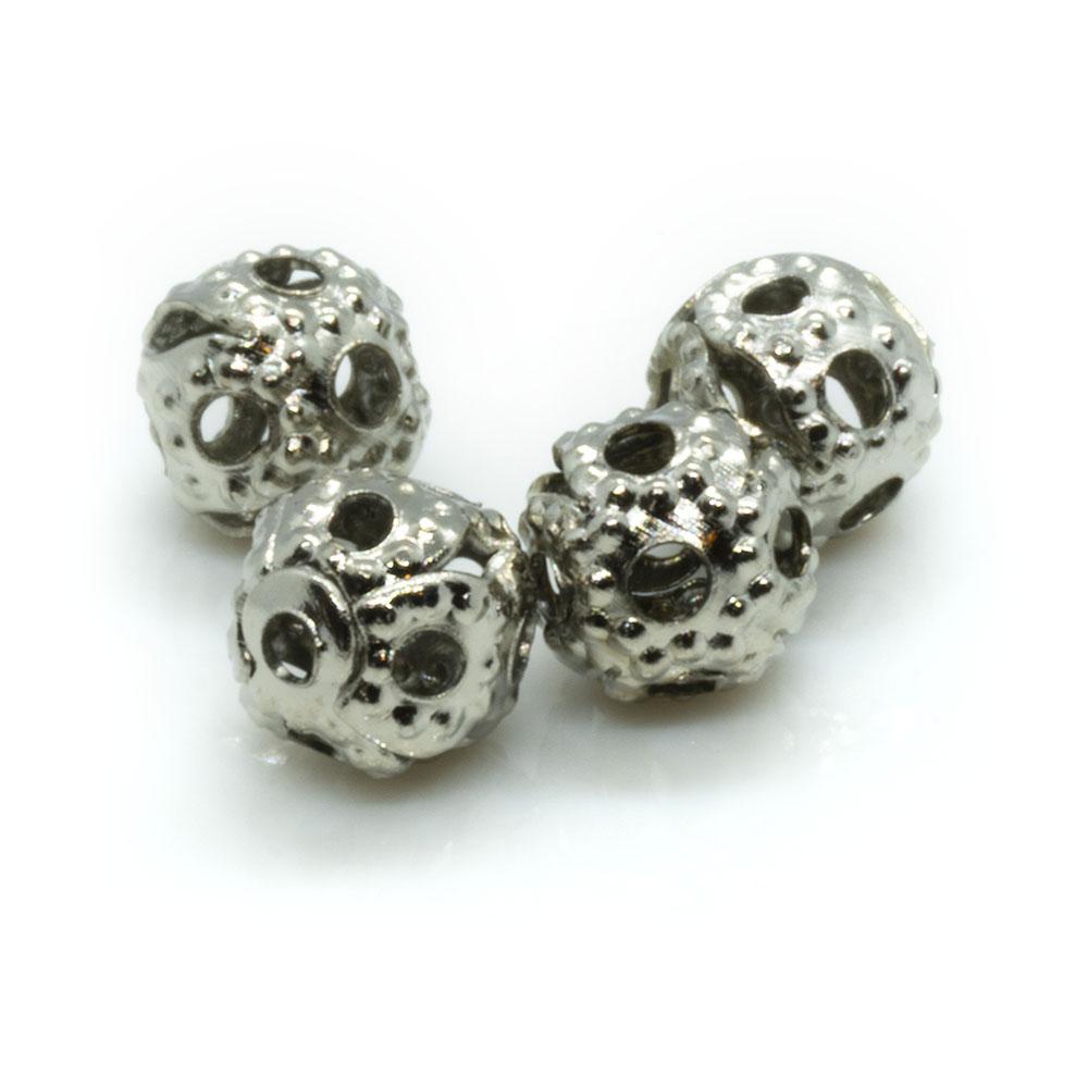 Filligree Round Metal Bead - 4mm - 10pc